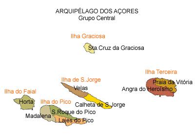 mapa do arquipélago dos Açores - grupo central