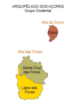 mapa do arquipélago dos Açores - grupo ocidental