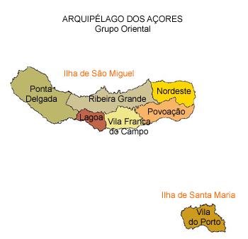 mapa do arquipélago dos Açores - grupo oriental