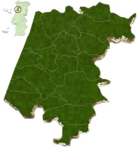 Localização do distrito de Aveiro no mapa de Portugal