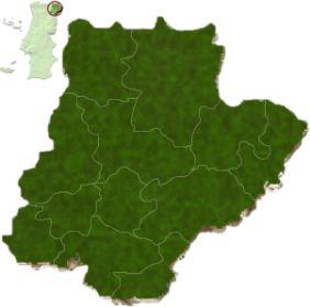 mapa do distrito de Bragança