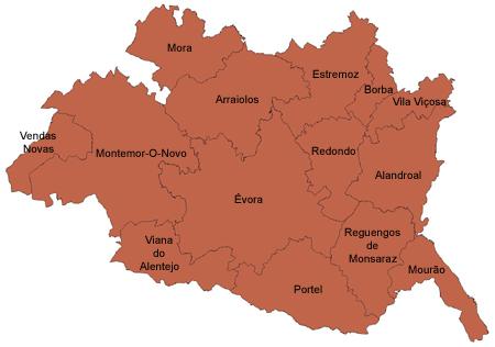 mapa do distrito de Évora