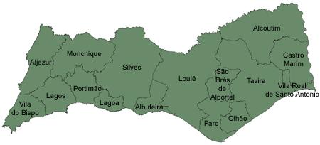 mapa do distrito de Faro