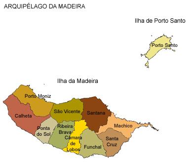 Mapa com as ilhas do arquip�lago da Madeira