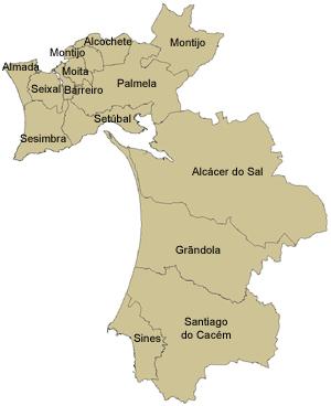 mapa concelho setubal Distrito de Setúbal | Portal Código Postal mapa concelho setubal