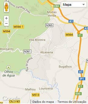 Mapa do município de Alcanena