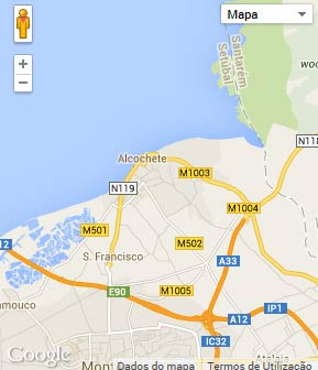Mapa do município de Alcochete