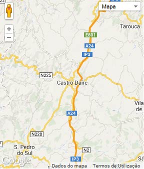Mapa do município de Castro Daire