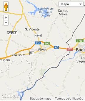 Mapa do município de Elvas