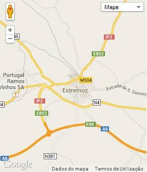 Mapa do município de Estremoz