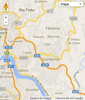 Mapa do município de Gondomar
