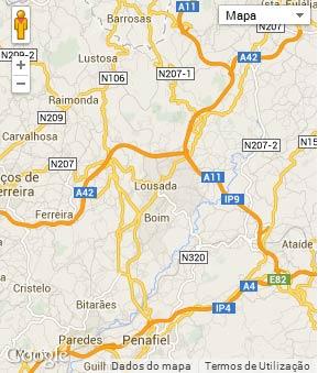 Mapa do município de Lousada