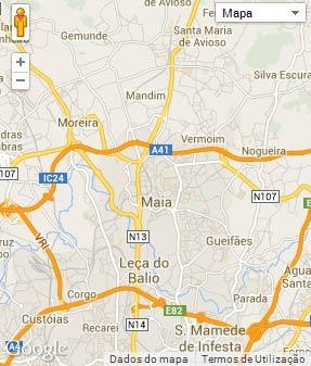 Mapa do município de Maia