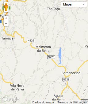 Mapa do município de Moimenta da Beira