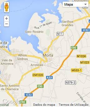 Mapa do município de Moita