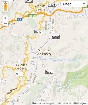 Mapa do município de Mondim de Basto
