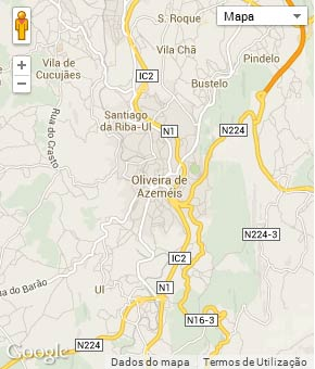 Mapa do município de Oliveira de Azeméis