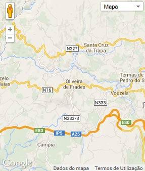 Mapa do município de Oliveira de Frades