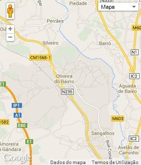Mapa do município de Oliveira do Bairro