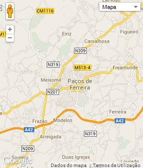 Mapa do município de Paços de Ferreira