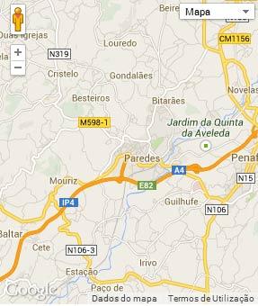Mapa do município de Paredes