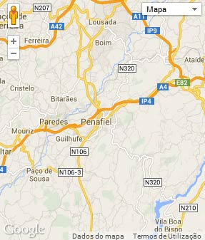 Mapa do município de Penafiel