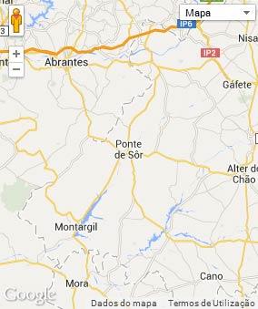 Mapa do município de Ponte de Sor
