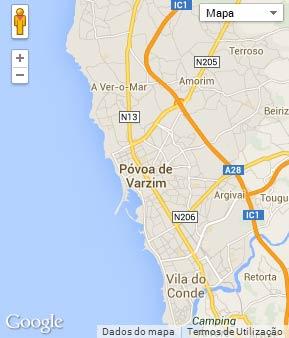 Mapa do município de Póvoa de Varzim