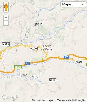 Mapa do município de Ribeira de Pena