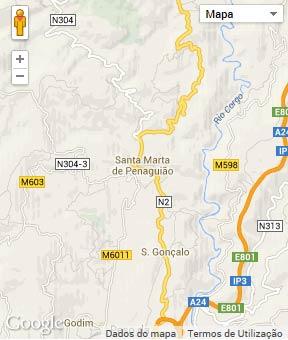Mapa do município de Santa Marta de Penaguião
