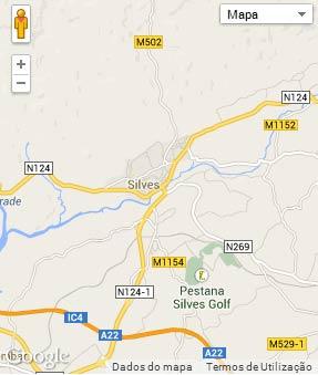 Mapa do município de Silves