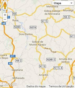 Mapa do município de Sobral de Monte Agraço