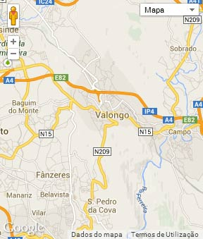 Mapa do município de Valongo
