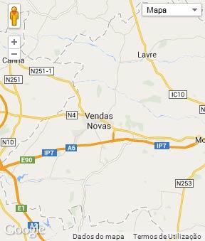 Mapa do município de Vendas Novas