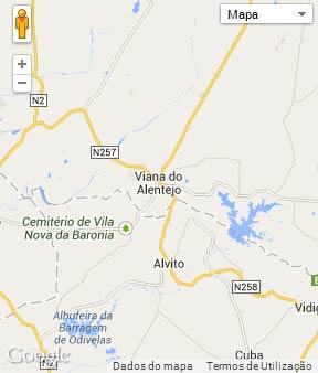 Mapa do município de Viana do Alentejo