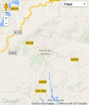 Mapa do município de Vieira do Minho