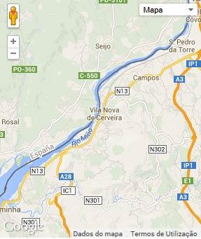 Mapa do município de Vila Nova de Cerveira