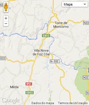 Mapa do município de Vila Nova de Foz Côa