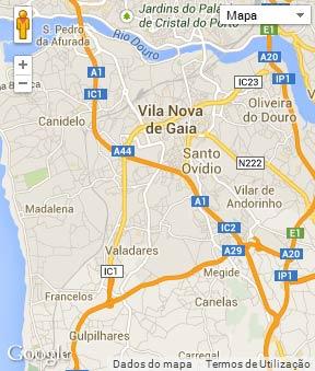 Mapa do município de Vila Nova de Gaia